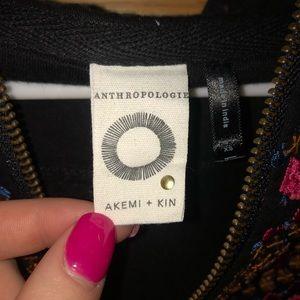 ANTHROPOLOGIE Zip-up beaded sweatshirt